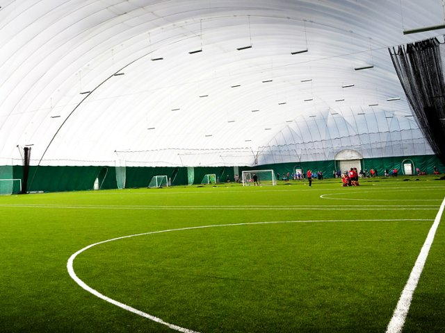 Sports dome featuring artifical grass